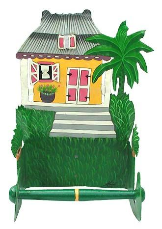 Hand Painted Metal Yellow Caribbean House Toilet Paper Holder - See more at www.haitigallery.com