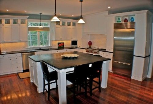 Love the upper cabinets w/glass doorsBathroom Design, Kitchens Design, Kitchens Tables, Black White, Kitchens Islands, Kitchen Islands, Dining Tables, Eclectic Kitchens, White Kitchens