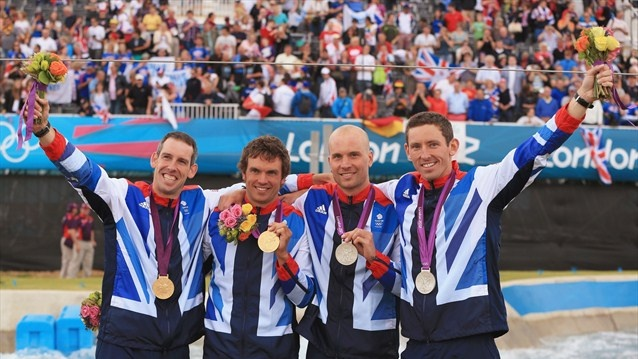 (L-R) Etienne Stott and Tim Baillie of Great Britain pose with their gold medals alongside silver medalists Richard Hounslow and David Florence of Great Britainafter the men's Canoe Double (C2) Slalom final on Day 6 of the London 2012 Olympic Games at Lee Valley White Water Centre