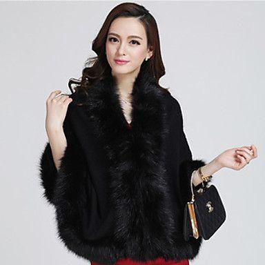 Shibeini Women's fashion Luxurious Fur Collar Loose Fit Cloak Fur Coat – AUD $ 37.40