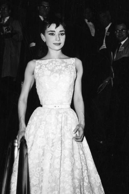White floral givenchy dress of audrey hepburn