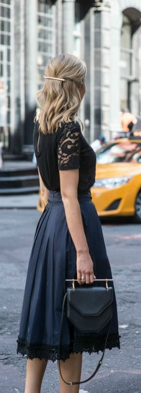 navy lace trim midi skirt, black lace blouse, black t-strap pointed toe pumps, black handbag, barrette hairstyle {derek lam 10 crosby, gibson, sjp collection, m2malletier}