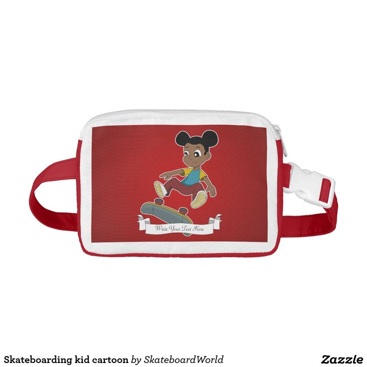 Skateboarding kid cartoon nylon fanny pack