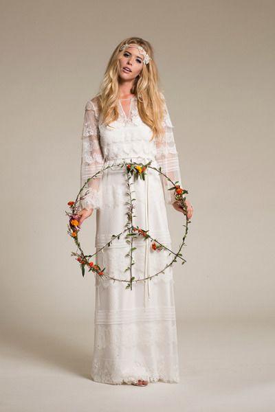 A very boho long sleeve bridal look: http://www.stylemepretty.com/2014/12/11/amy-kuschel-spring-2015-look-book/ #SMPLookBook