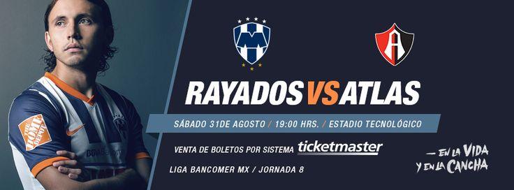 El 31 de Agosto 19:00hrs es el partido de la Jornada 8 de la @Liga Bancomer MX  #Rayados vs. Atlas. Transmisión por Sky.