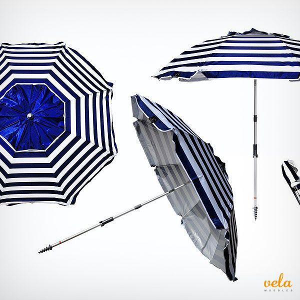 Bonita sombrilla de playa y jardín a rayas. Diseño marinero a inmejorable precio. Echa un vistazo!