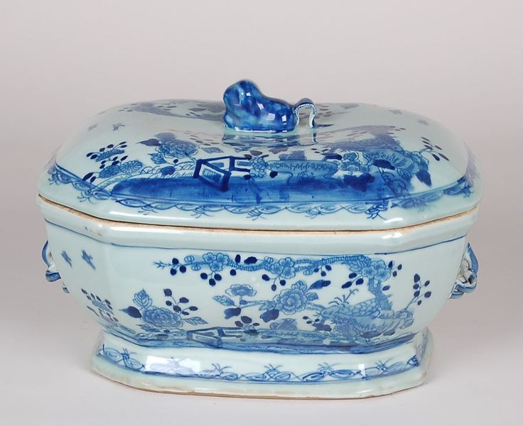 Large Blue and White Tureen with Foo Dog Lid from The Well Appointed House