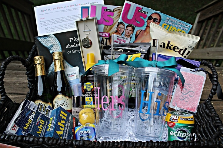 Wedding Day Gift Basket For Groom : Great idea for the bridesmaids to give the bride & groom a honeymoon ...