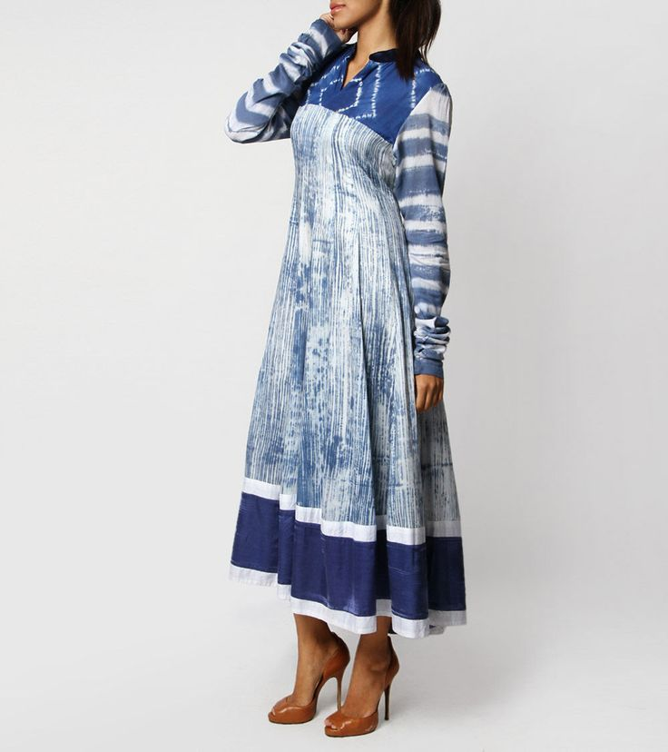Blue Anarkali Cotton Kurta with Shibori Work