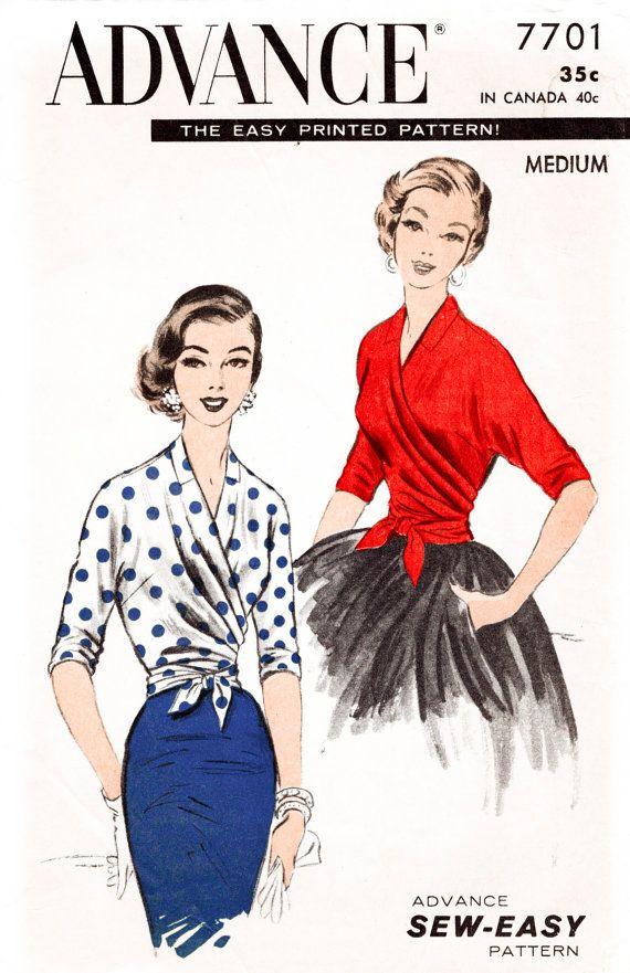 Vintage Sewing Pattern 1950s 50s Wrap Blouse Kimono Sleeve