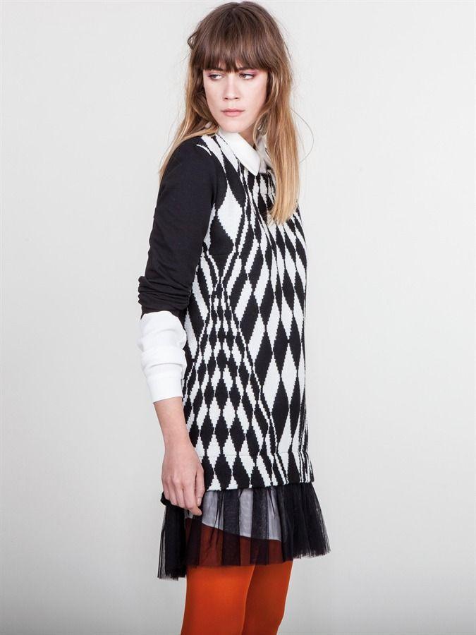 Naughty Dog FW1617 black and white geometric dress