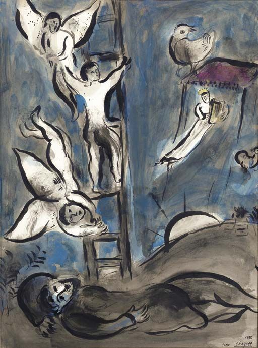 Le rêve de Jacob, Marc Chagall, 1887 - 1985 (Jacob's dream of angels ascending to heaven on a ladder)