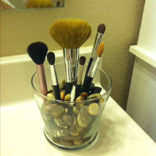 2 makeup brush holder! Go to your local Dollar Tree and