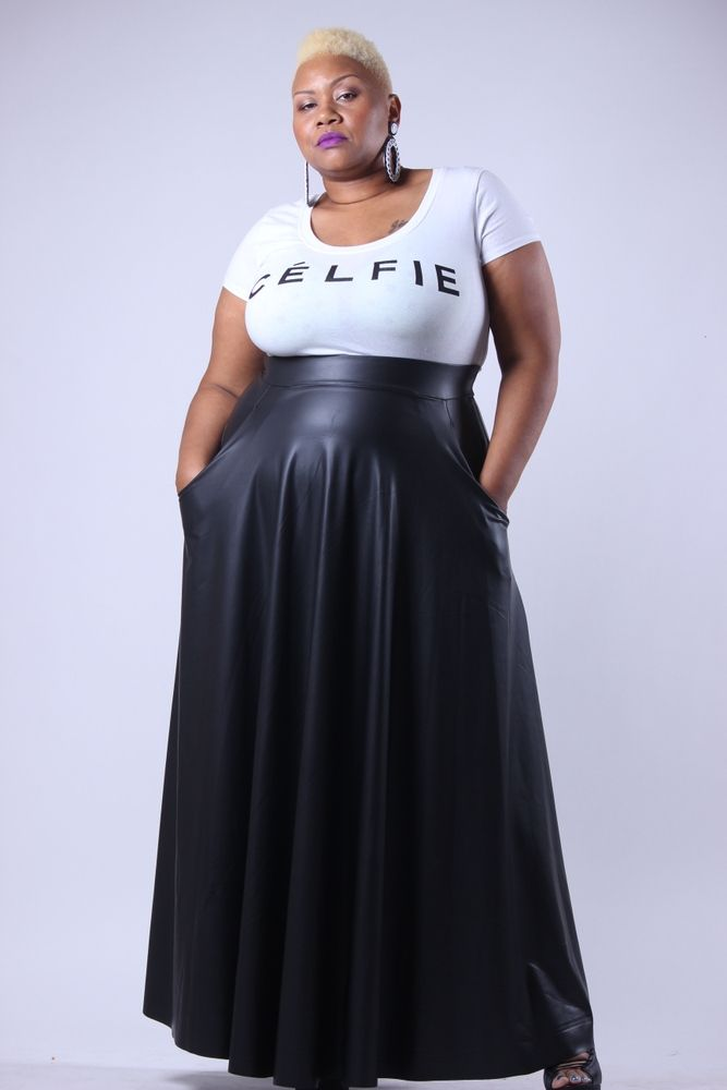 Image of Plus Size Full Length Faux Leather Skirt | TOUT ENSEMBLE ...