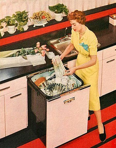 Pink Dishwasher   Detail From 1956 GE Ad.