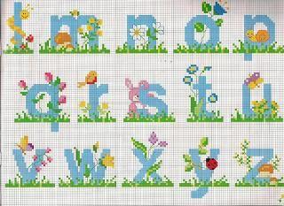 Schemi alfabeti a punto croce per  bambini