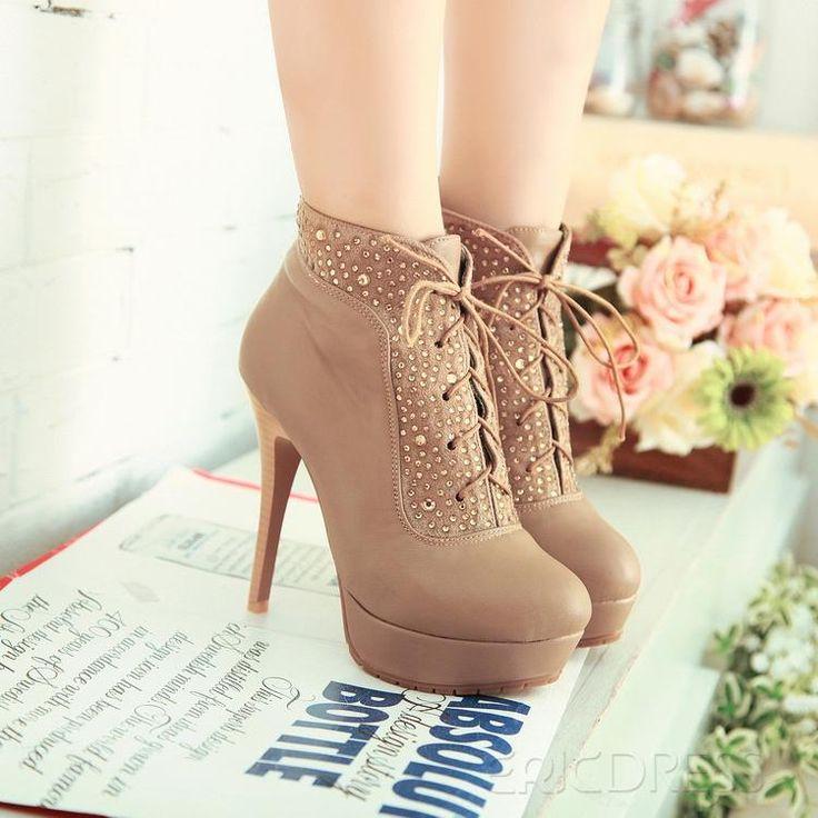 Rhinestones stiletto heel two ways of wear style beige shoes High Heel Boots