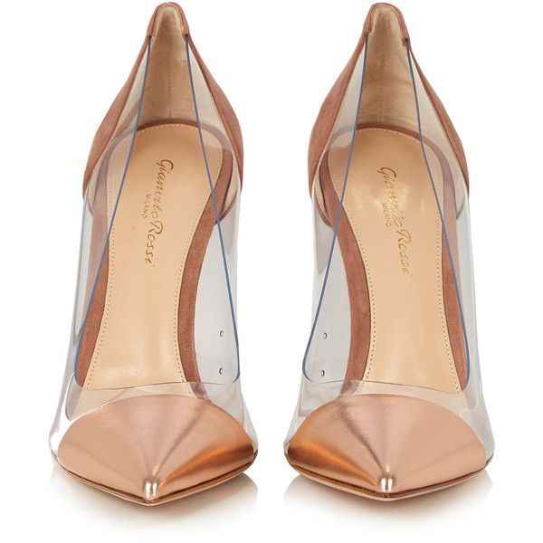 Gianvito Rossi Plexi suede and leather pumps ($546) ❤ liked on Polyvore featuring shoes, pumps, pointy toe pumps, suede pumps, leather pointed toe pumps, nude pumps and pink shoes