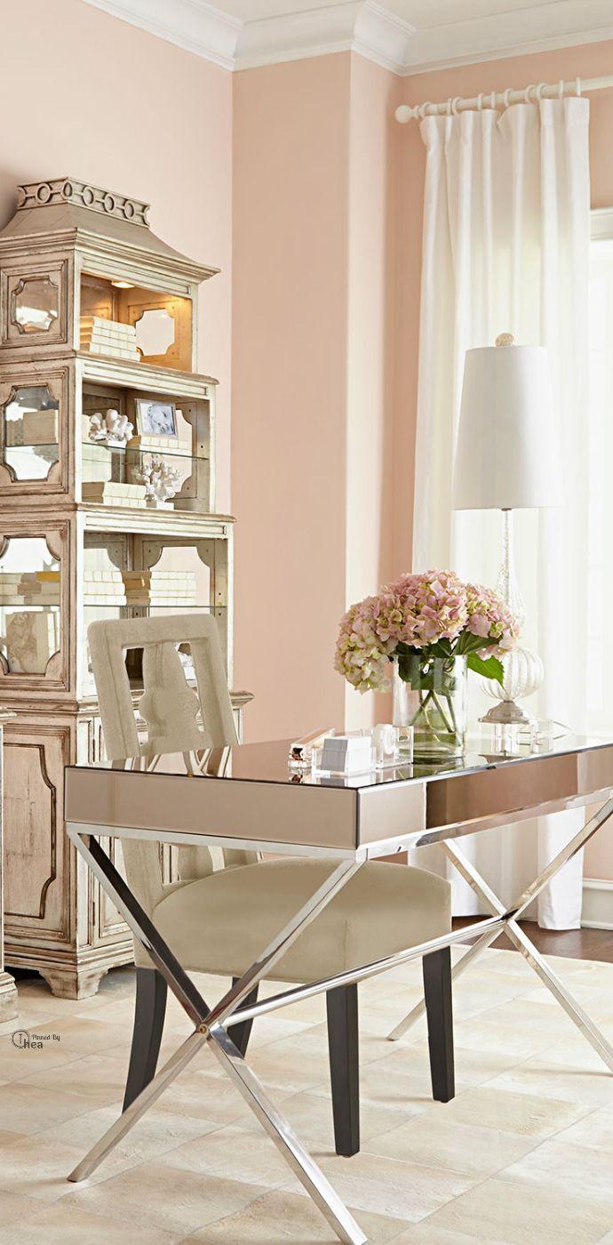 Modern Glam desk:  mirrored, x-legs, cream chair with black lets.