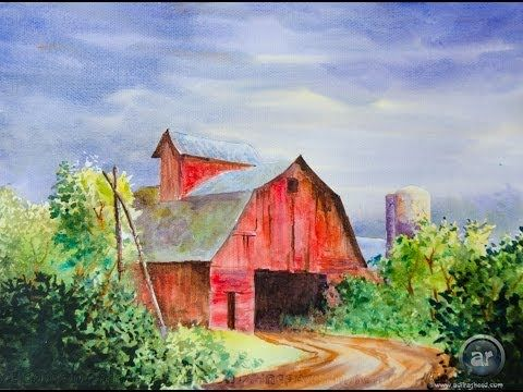 A Red Barn in Water Color - YouTube (love the picture, uses masking fluid while doing the sky)