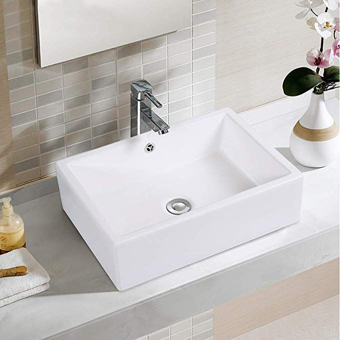 Giantex 20 Inch Bathroom Rectangle Ceramic Vessel Sink Vanity Pop