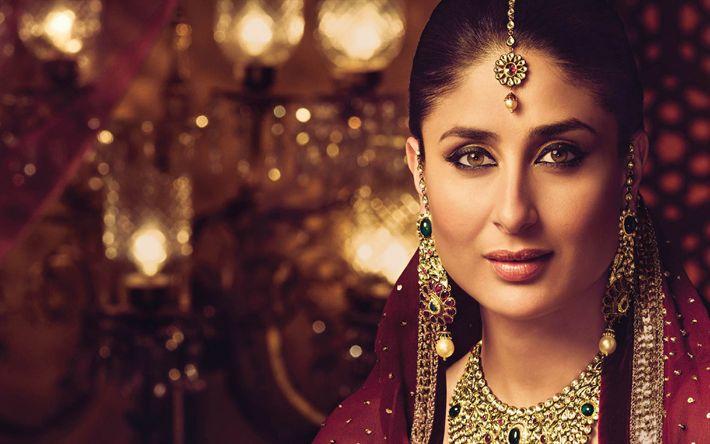 Indir duvar kağıdı Kareena Kapoor Khan, Hint oyuncu, 4k, Hint takısı, Hint sari, Bollywood, portre, esmer