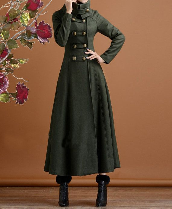 Long navy green cashmere dress coat big sweep women wool winter coat long jacket  large size wmen coat windcheater outercoat windbreaker