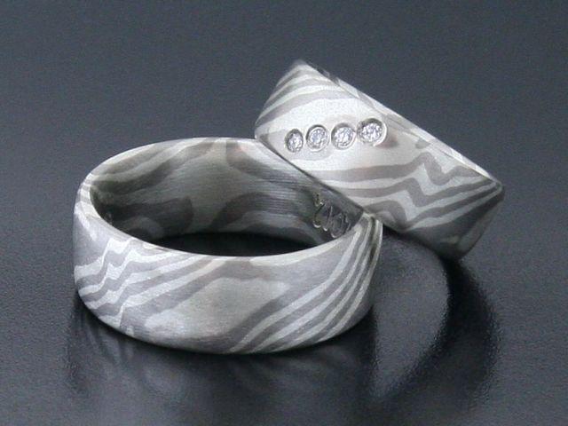 #Rings by #Bielak  #mokume #gane  palladium / silver  4 white diamonds 1.5mm dimension  #wedding ring from #Poland