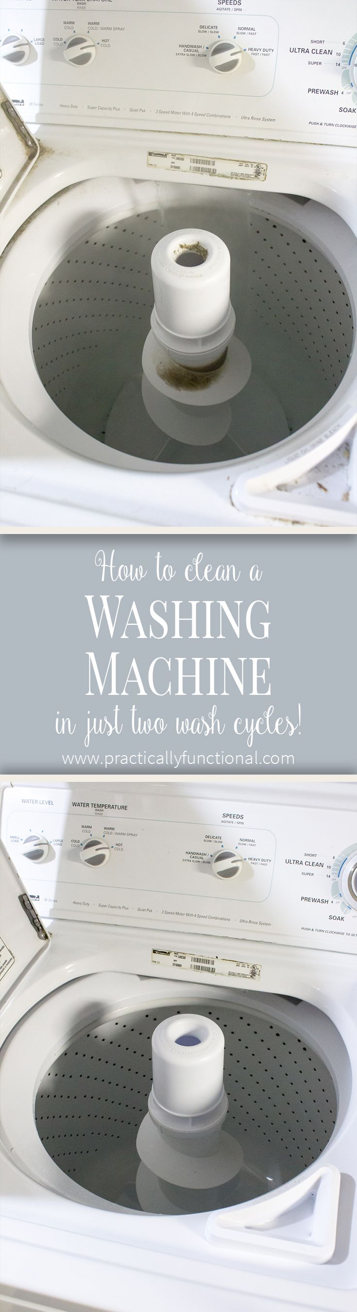 How to clean your washing machine - step by step instructions using vinegar and bleach to clean grunge, soap scum, and mineral deposits in the drum and in the pipes and hoses!