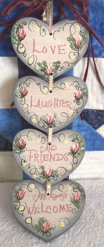 Rustic Hand Painted Country LOVE LAUGHTER & FRIENDS ARE WELCOME Wood Heart Sign