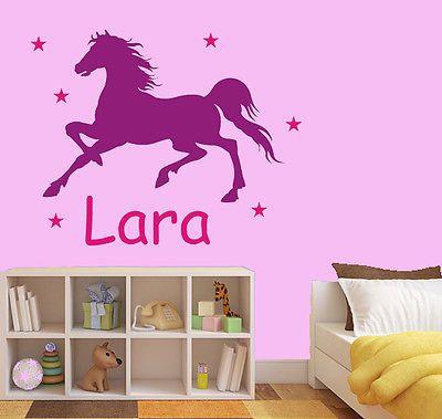 Cute Details zu Wandtattoo Aufkleber Pferd Wunschname Sterne Kinderzimmer zweifarbig wu