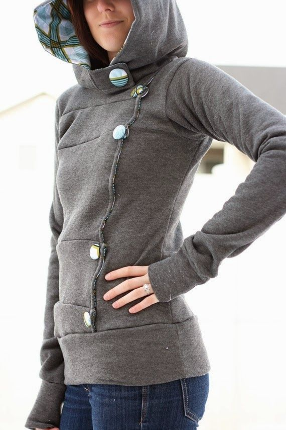 Stylish Hood With Big Buttons Style | Fashion Ideas