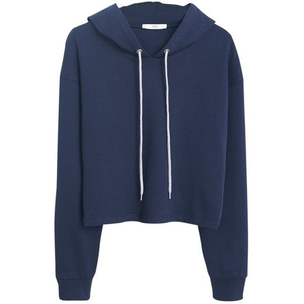 Mango Cropped Cotton Hoodie, Navy (£20) ❤ liked on Polyvore featuring tops, hoodies, hooded pullover, cropped hoodies, blue hooded sweatshirt, hooded sweatshirt and cropped hoodie