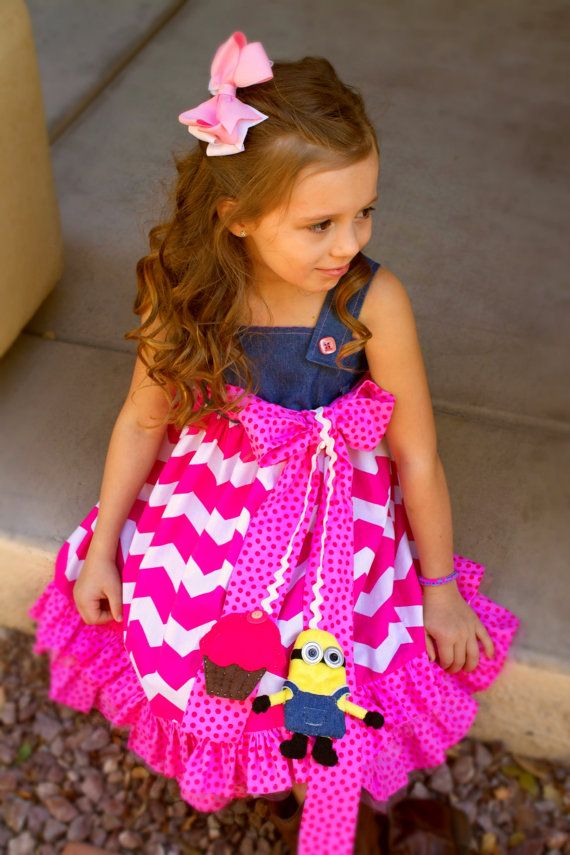 Pink Minion Girls Party Dress made to order by PrettyLilPartiesLV