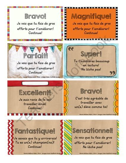 Carte pour dire BRAVO! from Mahe129 on TeachersNotebook.com - (1 page) - Petites cartes � imprimer afin de f�liciter des �l�ves qui ont travailler fort!