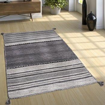 Toller Webteppich im Kelim-Style, Gemustert in Grau-Tönen #teppich - Wohnzimmer Grau Orange