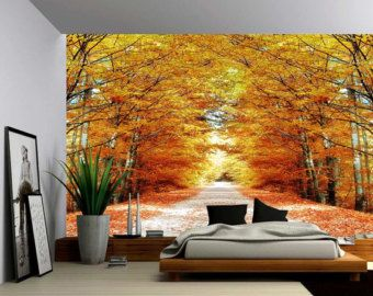 Autumn Maple Tree Road   Large Wall Mural, Self Adhesive Vinyl Wallpaper,  Peel Part 76