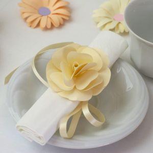 Szalvétadísz – pasztell sárga rózsa Napkins paper decor