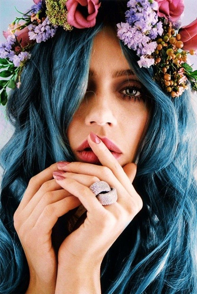 This Pin was discovered by Alexandria Griffin. Discover (and save!) your own Pins on Pinterest. | See more about blue hair, flower crowns and hair colors.