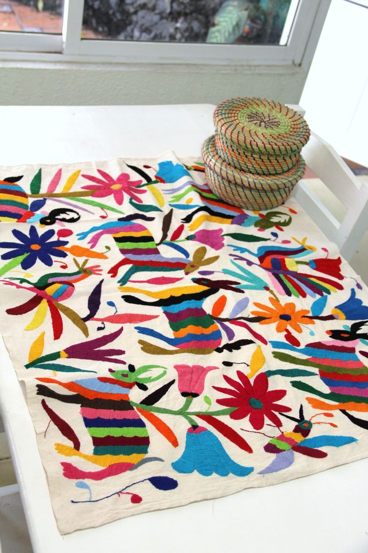 Multi colored one of a kind Hand Embroidered Otomi Table ...