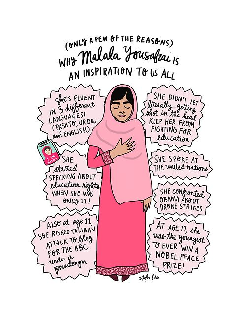 Malala Yousafzai, the coolest gal around by Tyler Feder #malala yousafzai#malala#i am malala#illustration#artists on tumblr