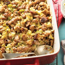 Sausage and Apple Stuffing - Rich, hearty, and easy to put together for your holiday dinner.