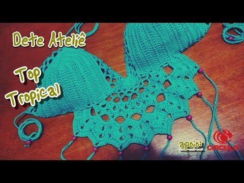 Top Cropped Tropical em Crochê - YouTube