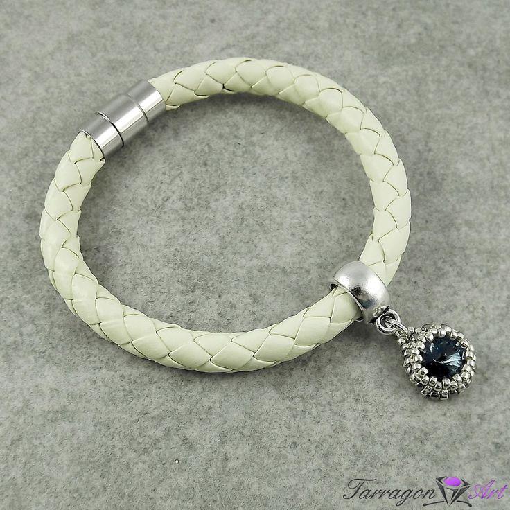 Bransoletka Magnetic Leather - Cream with Denim Blue od Tarragon Art - Zapraszamy na zakupy! www.tarragonart.pl