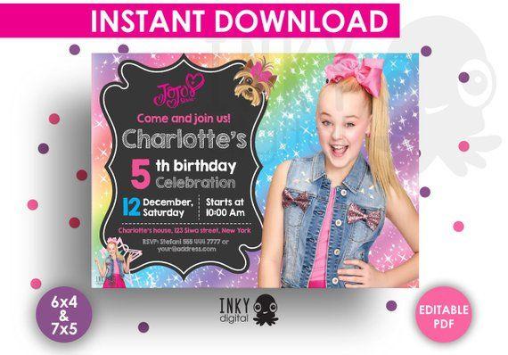 jojo siwa birthday invitation editable