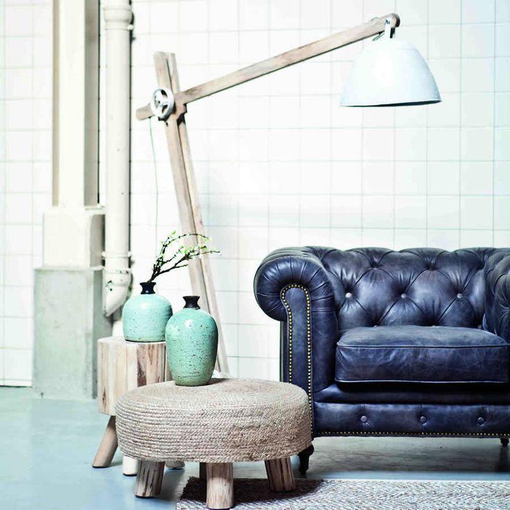 Wooden Angled Floor Standing Lamp White Metal Detail Affiliate
