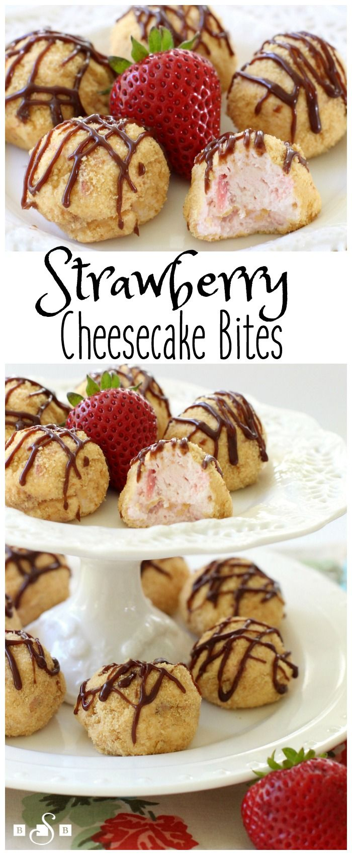 Strawberry Cheesecake Bites - tasty little bite-sized treats that satisfy your cheesecake sweet tooth! So simple to make too! Butter With A Side of Bread