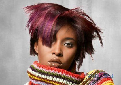 Krótkie włosy - czerwone i różowe pasemka #hair #hairdress #fryzury #polkipl