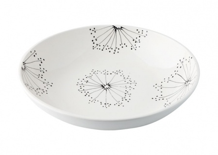 Graphic Fat in cream-colored pottery with black designs. #home accessories