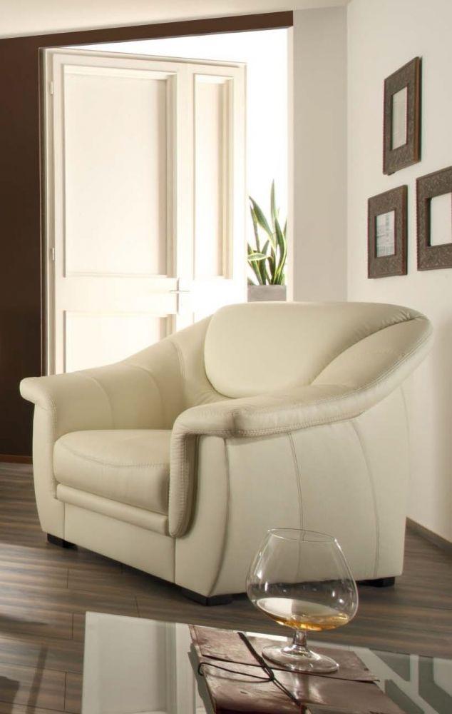 Valeriano luxusní kožené křeslo světlé / living room armchair